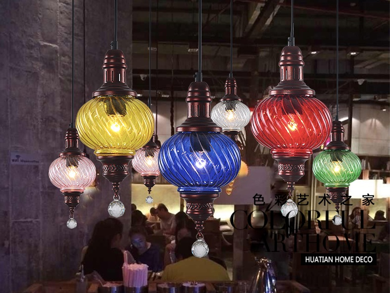 ФОТО Free Shipping Bohemian Mediterranean D180mm Style Hand Knitted Crystal Pendant Light Tiffany Vintage Painted Iron Pendant Light