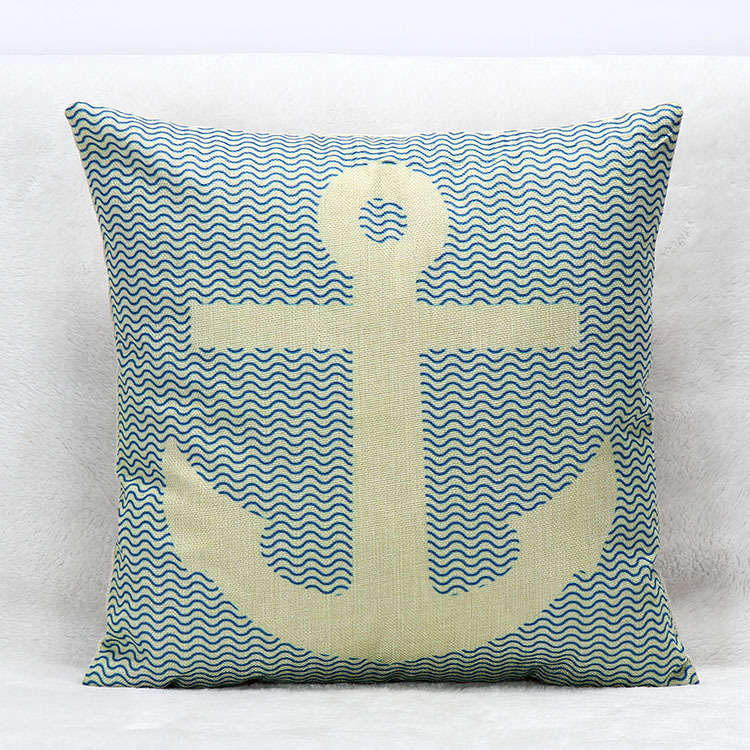 Free shipping linen/cotton boat anchor thick cushion cover 45X45cm decorative throw pillow cover for home & sofa