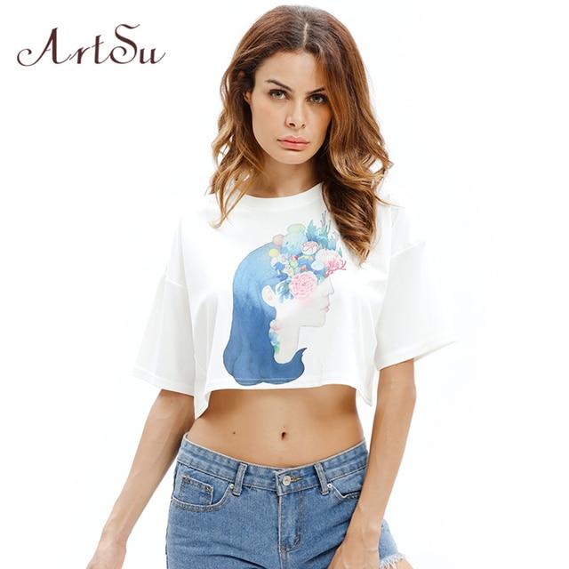 94409881e37 ArtSu White Black Top T shirts Women 2018 Summer Harajuku Crop Top Tee  Shirt Femme Sexy Short T-shirt Casual Kawaii ASTS20333