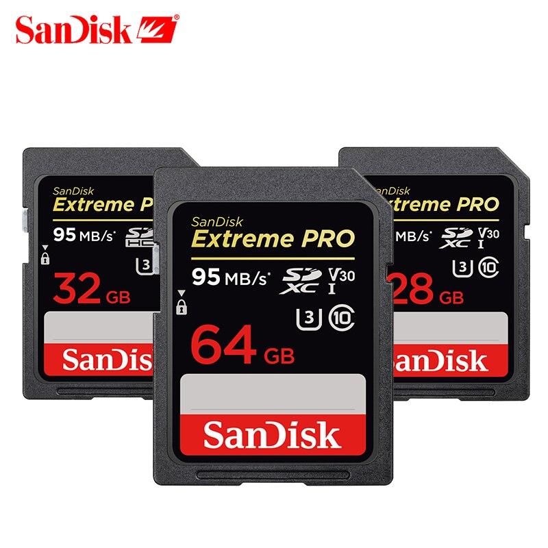 SanDisk Scheda di Memoria SDHC/SDXC SD Card UHS-I 95 mb/s 16 gb 32 gb 64 gb 128 gb 256 gb SDcard Class10 U3 V30 4 k Extreme Pro Per La Macchina Fotografica