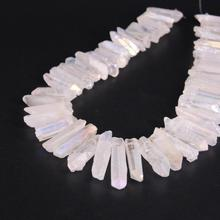 15.5strand White AB Titanium Crystal Quartz Top Drilled Point Beads,Raw Stick Graduated Pendants For Jewelry Making