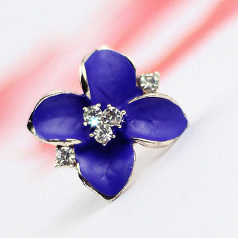 New Fashion Big Blue Flower Earrings For Women 2017 Gold Color Jewelry Bijoux Elegant Gift