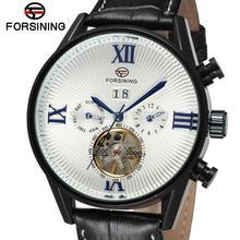FSG16556M3B3 Мода марка Автоматический self-ветер платье роскошные мужчины часы с черным кожаный ремешок подарочной коробке бесплатная доставка