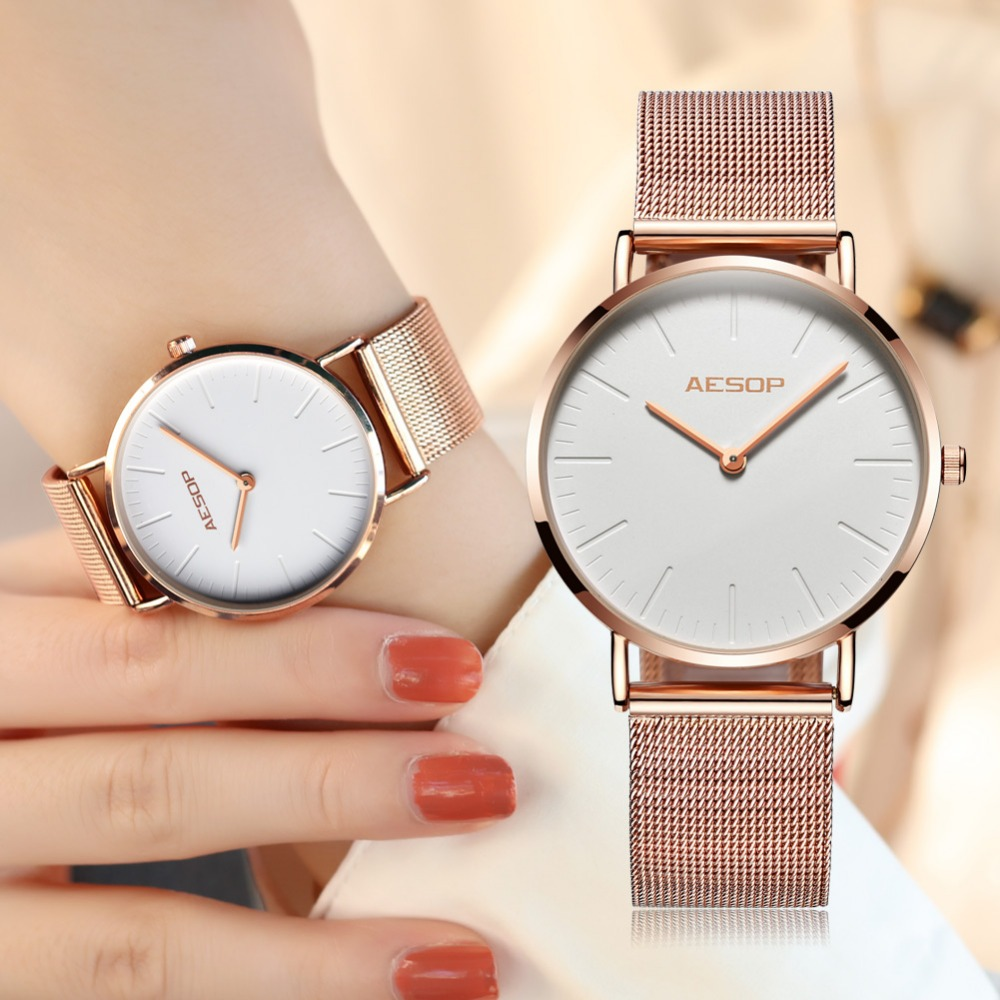 AESOP Brand elegant Design Fashion Creative Women Watches 2018 Rose gold Colors steel strap Quartz Ladies watch relogio feminino fashion brand v6 quartz women watches rose gold steel thin case classic simple dial leather strap ladies watch relogio feminino