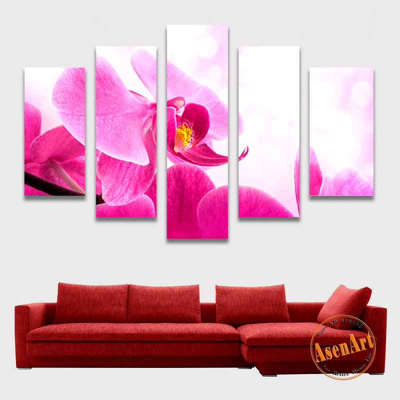 5 Panels Canvas Wall Art Pink Flower Canvas Prints Painting HD Wall ...