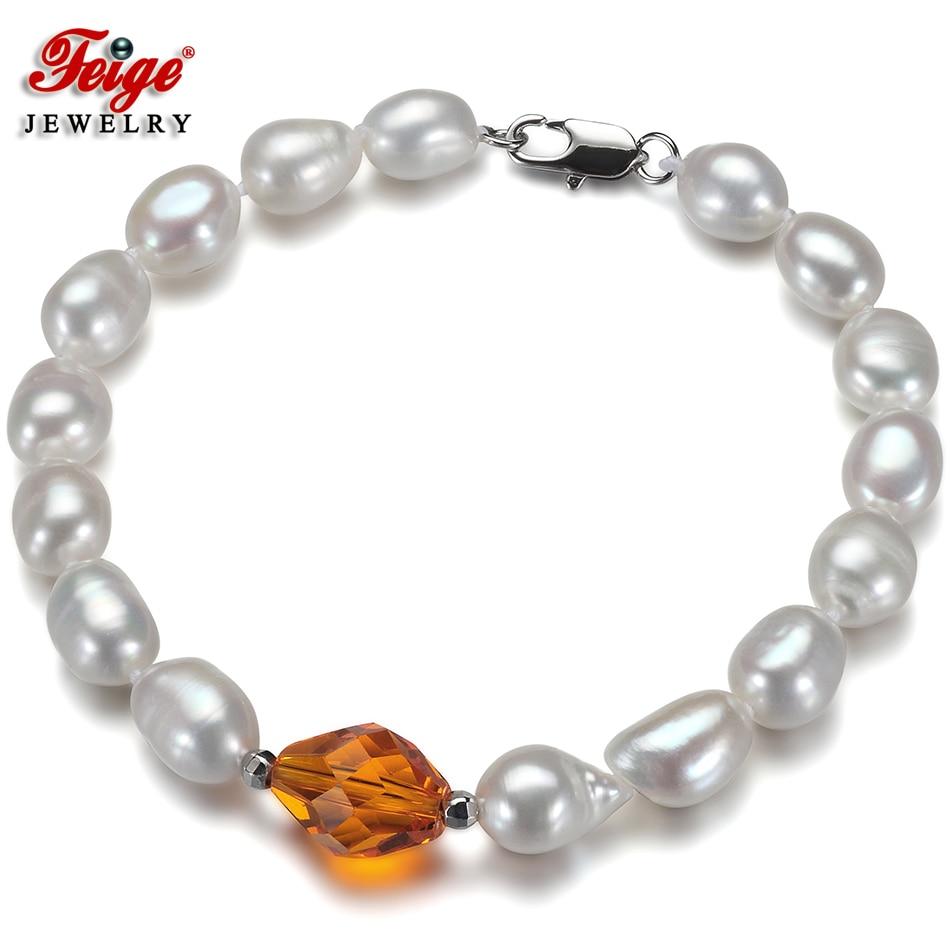 Trendy Natural Baroque Pearl Bracelet for Women Fine Jewelry Gifts 7-8MM Freshwater Pearls Orange Crystal Strand Bracelets FEIGE 8mm crystal translucent pearl bracelet
