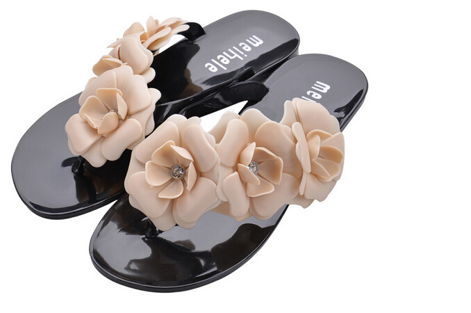 SCYL Summer Hot Women Sandals With Beautiful Camellia Flower Sweet Flip Flops sweet women s sandals with color block and flower design