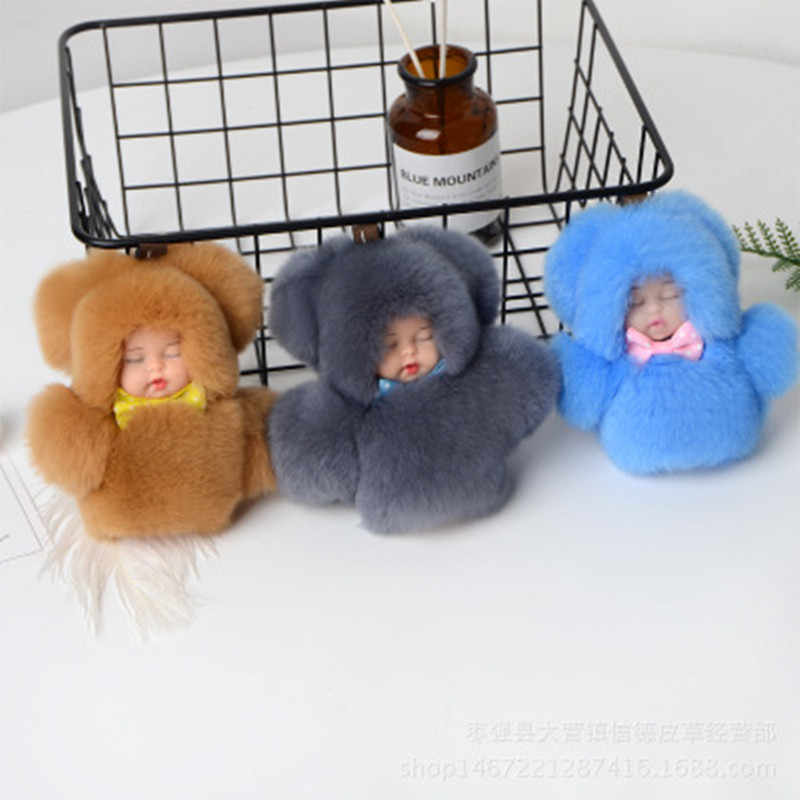 2019 Novo Bonito do Sono Do Bebê Boneca Chaveiro Real Rex Rabbit Fur Pom Pom Fofo Saco Chaveiro Carro Chaveiro Bugiganga mulheres Presente 11 cm