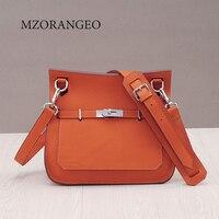 MZORANGEO Luxury Women Shoulder Bag Genuine Leather Fashion Hasp Single Saddle Shoulder Bag Lady Lichee Pattern