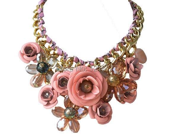 Prix pour 17 Couleurs FOULARD COLLIERS De Fleur De Mode Bijoux Chunky Déclaration 2015 Multicolore Coton Corde Colliers Pour Femmes Accessoires