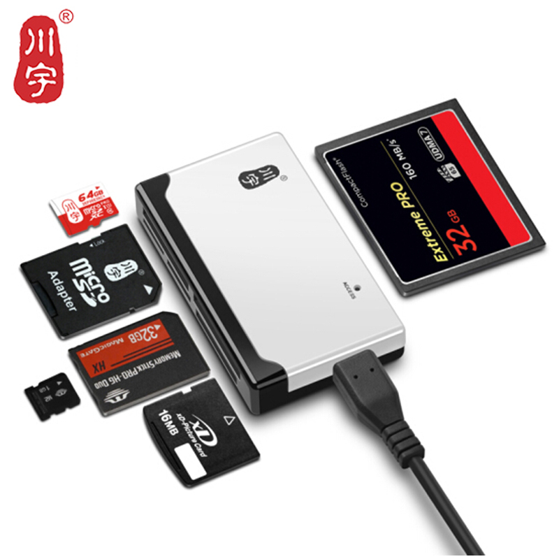 Kawau Microsd Card Reader 2.0 USB High Speed with TF SD CF MS M2 XD Card Slot C235 Support 512GB Memory Card Reader for Computer стоимость