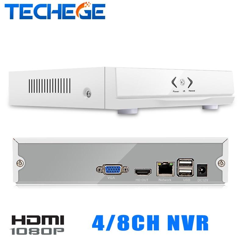 Techege NEW MINI NVR 4CH 8CH Full HD NVR 1920 1080P P2P ONVIF 2 0 For
