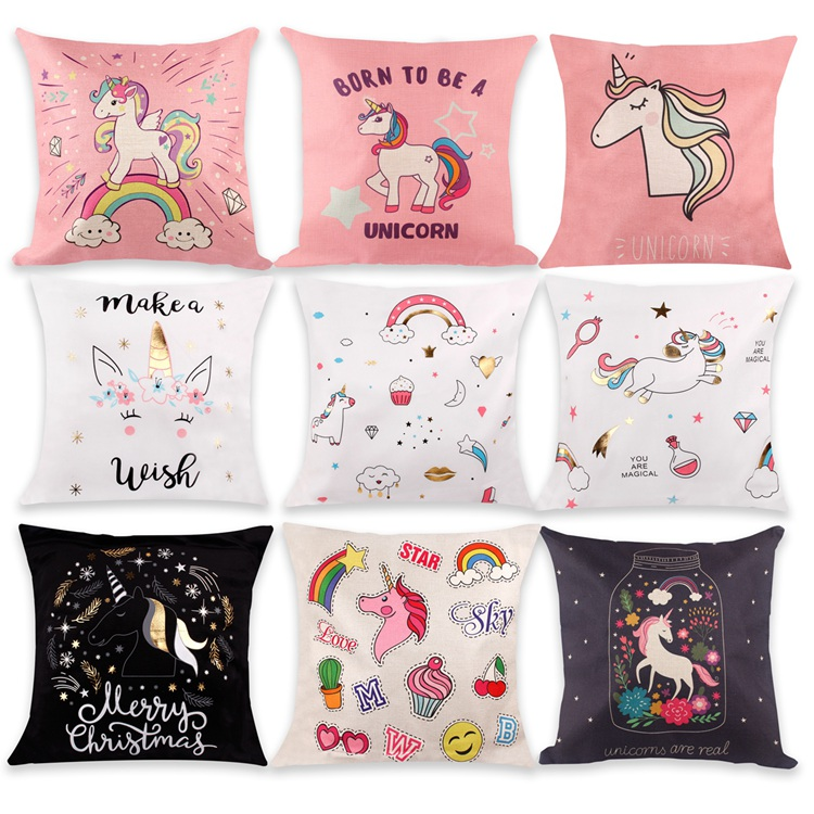 Brand Fengrise Feature Unicorn Pattern Material Cotton Linen Size 45x45cm18x18inches