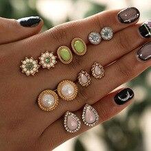 купить 2019 Pearl Earring Set Retro 6 Pairs Pearl Flower Stud Earrings Fashion Jewelry for Women Stud Earring Set for Girls  Wholesale по цене 60.72 рублей