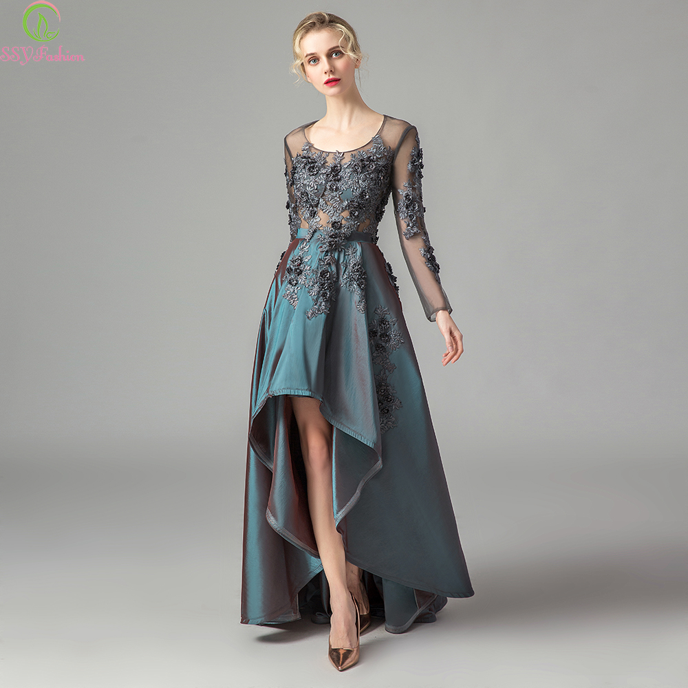 SSYFashion 2019 New Evening Dress Vintage Dark Green Satin Lace Appliques Long Sleeves Formal Gown Mother
