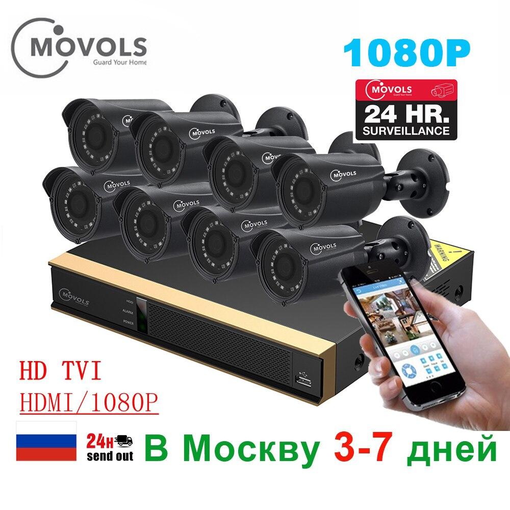 MOVOLS 8ch CCTV Surveillance Kit 8*1080 p Caméras de Surveillance Extérieure Kit IR de Sécurité Caméra Vidéo Système de Surveillance DVR kits