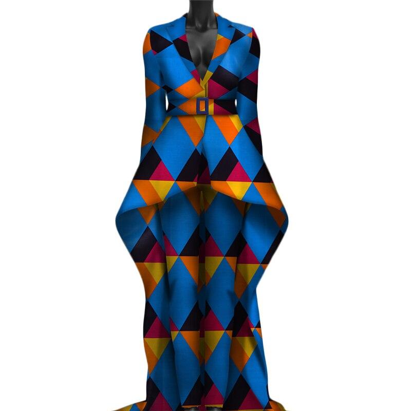 2019 tournent vers le bas Africaine Dashiki traditionnel deux pantalons piece set femmes plus taille femme ensembles de vêtements pleine manches WY3050