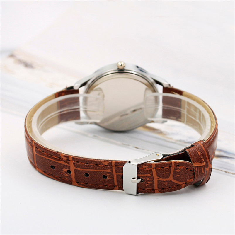 Fashion Women Mens Watch Analog Casual Brown Leather Strap Couple Watches Lover's watches relogio feminino relogio masculino X50
