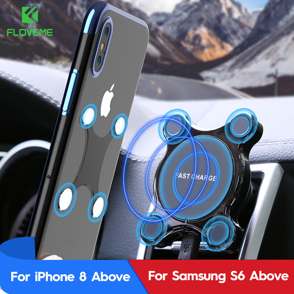 FLOVEME Wireless Charger For iPhone XS Plus X XR 10W Qi Wireless Car Charger Fast Wireless Charging For Samsung S10 S9 Note 9 8