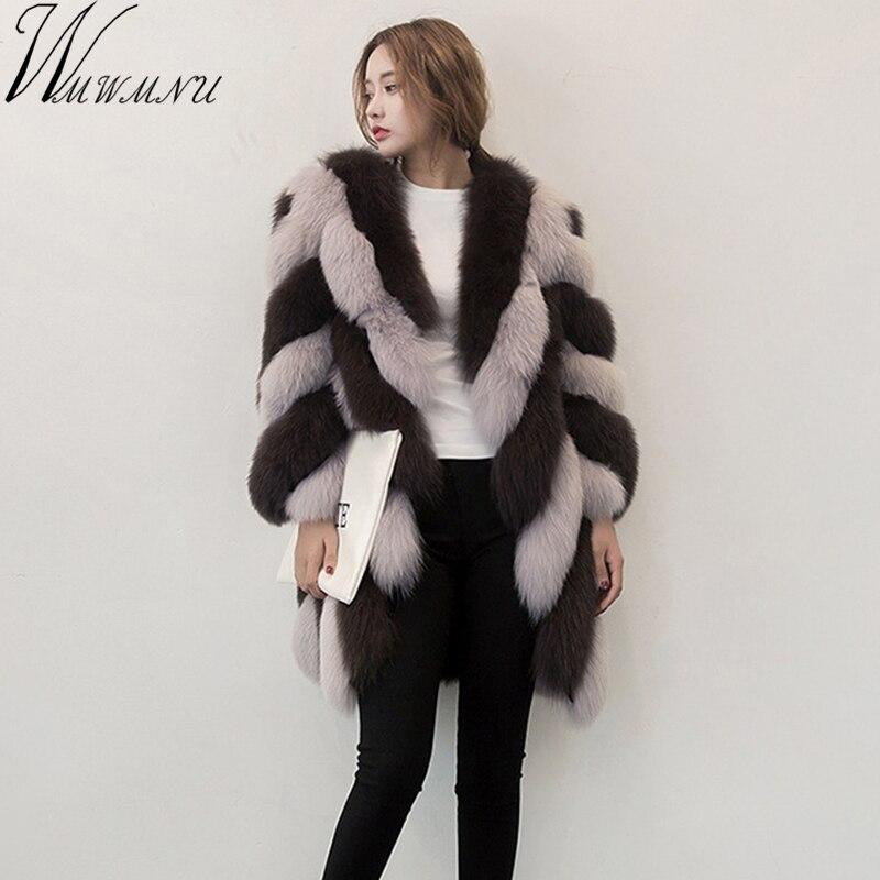 Wmwmnu 2017 new Nine Quarter Sleeve Winter Women High Imitation stripe Faux Fur Coat Jacket Fur Coat Women Clothes Fox Fur Coat