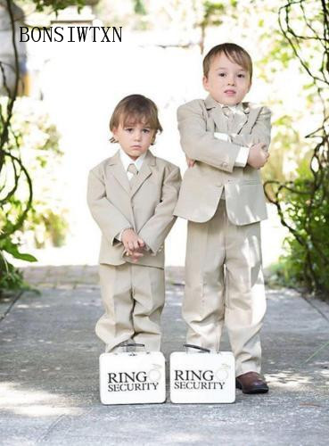 BONSIWTXN Single Breasted Boys Suits Formal England Style Blazers Boys Ring Bearer Clothing Set Children Wedding Party Costume