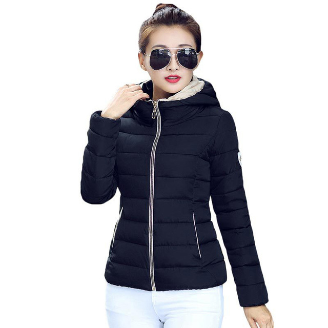 30b5b499dc3 2016 Winter Fashion Jacket Women Hooded Parka Slim Cotton-Padded High Neck  6 Colors Cotton