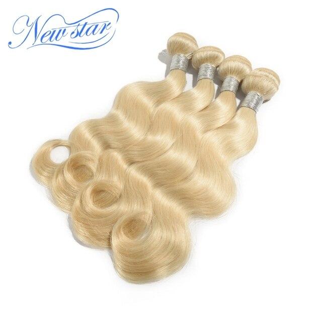New star produtos de cabelo onda do corpo branqueada loira cor #613 platinum blonde, brasileiro Virgem extensões de Cabelo Humano 4 pçs/lote