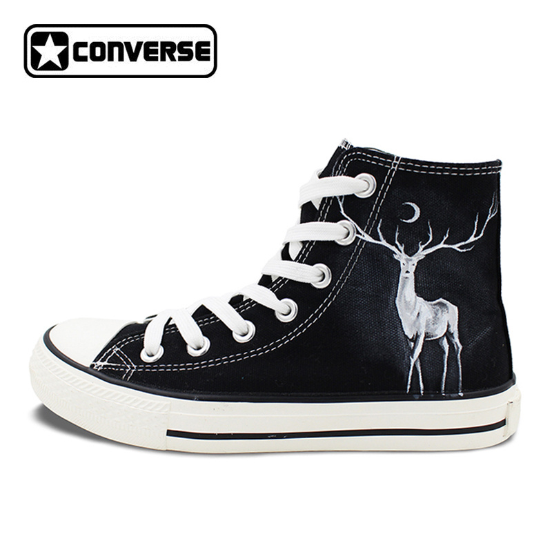 Winter Reindeer High Top Converse Hand Painted Shoes Custom Design Canvas Sneakers Unique Gifts for Men Women converse all star high top shoes for men women dreamcatcher design flats lace up canvas sneakers for gifts