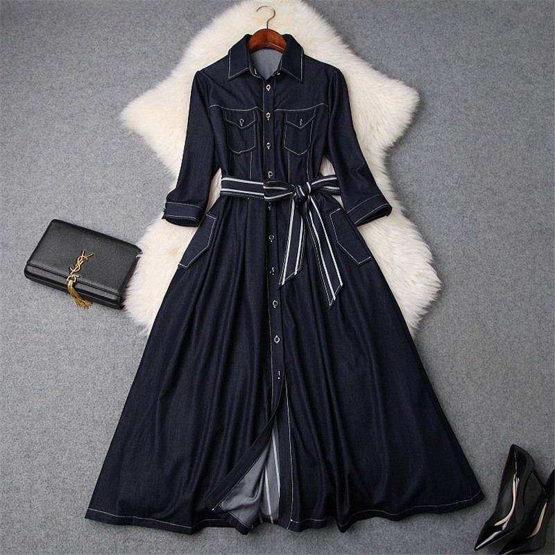 Brand Fashion Designer Spring Dresses for Women Turn Down Collar Striped Patchwork Lace Up Midi Aline