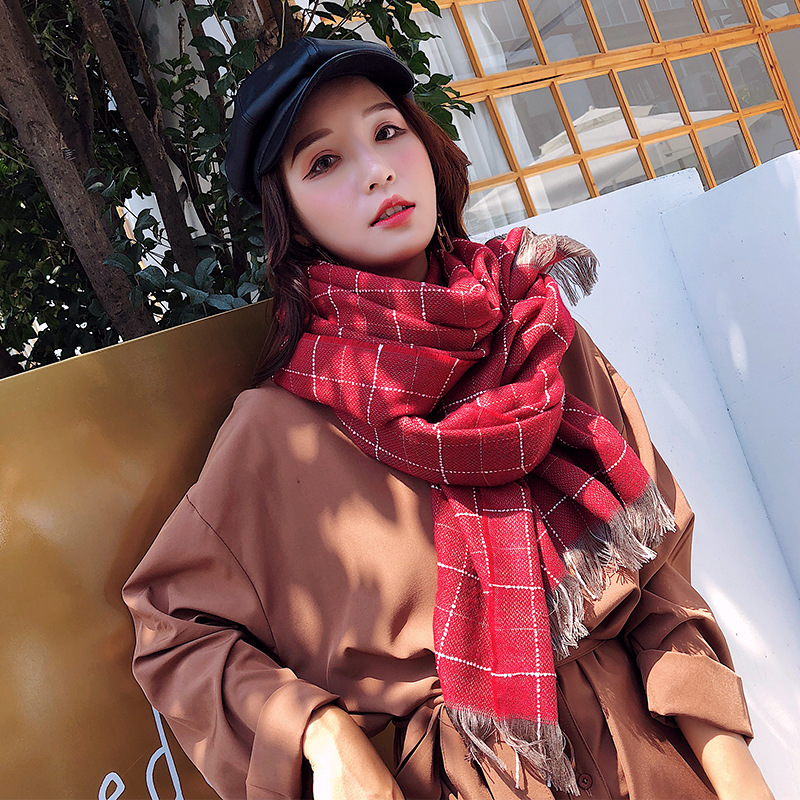 HOT NEW 2019 Autumn Winter Female Wool Scarf Women Cashmere Scarves Wide Lattices Long Shawl Wrap Blanket Warm Tippet wholesale in Women 39 s Scarves from Apparel Accessories