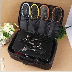 Image 2 - Profesyonel üst sınıf PU deri berber kuaförlük elektrikli saç makası çantası saç kesme makinesi alet çantası tutabilir saç kurutma makinesi çanta