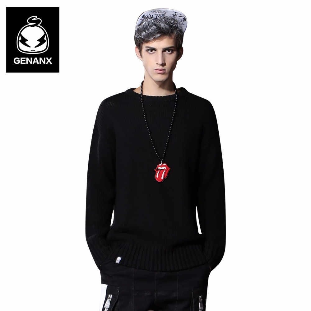Genanx Brand Fashion Solid Color Pullovers Man Winter Casual Sweater Men Long Sleeve Loose Knitted Clothing Size M-XXL