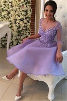 Lavender 2017 A Line 3 4 Sleeves Chiffon Appliques Lace Beaded Short Mini Homecoming Dresses Special
