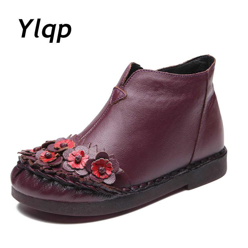 YLQP 2019 Yeni Varış Patik Retro Hakiki Deri yarım çizmeler Kadın Martin Çizmeler Inek Derisi düz ayakkabı El Yapımı Kış Kürk Botları