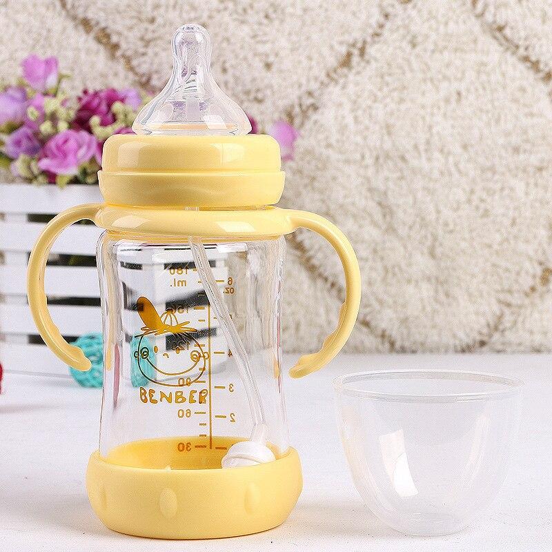 7050 Temperature Sensing Glass Feeding Bottle Widemouthed Glass Feeding Bottle Gourd Glass Automatic Feeding Bottle 180ml 7050