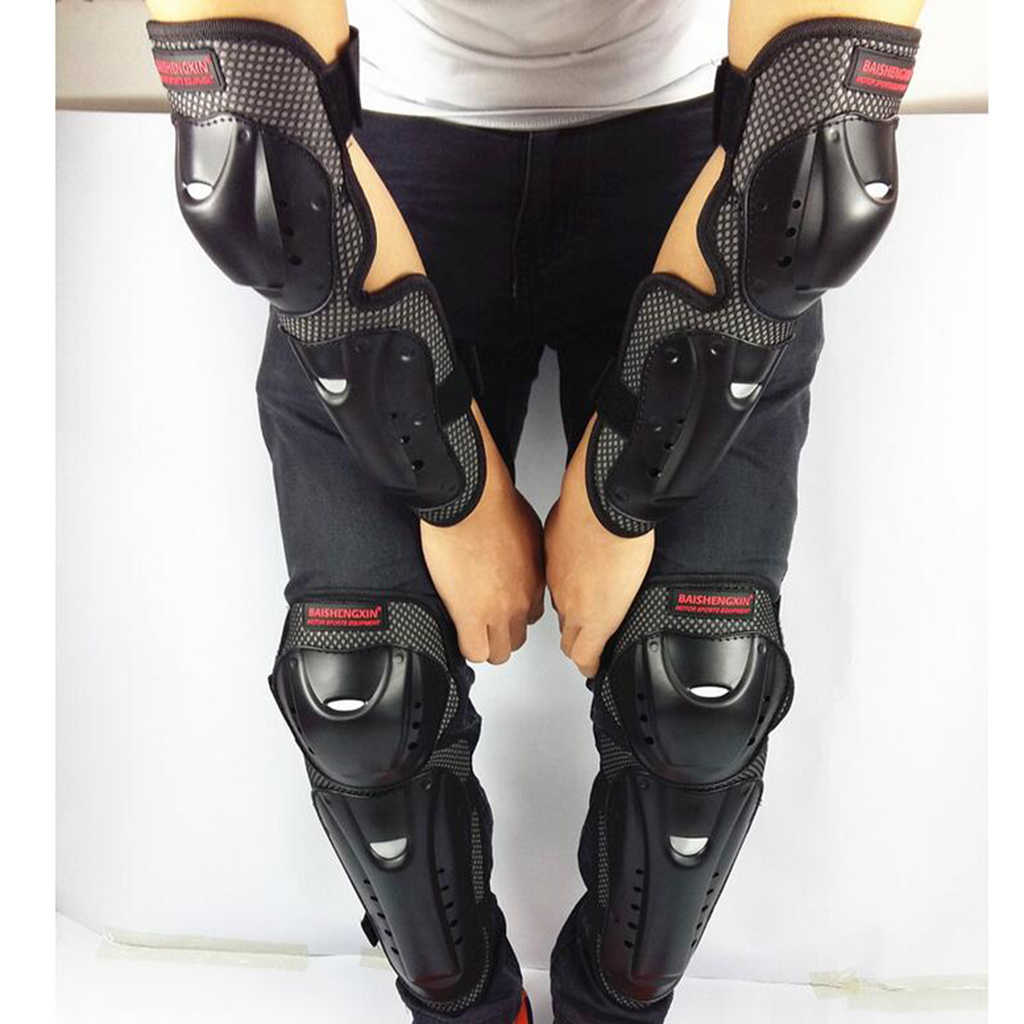 4 Pieces Motorcycle Pads Elbow and Knee Pads Motocross Protection Shin Pads Body Protection Set for Adults