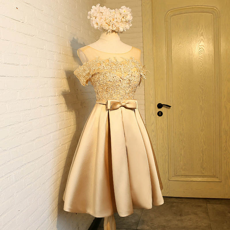 Aswomoye Elegant Kort Aften Kjole 2018 Ny Stilfuld Illusion O-Neck - Særlige occasion kjoler - Foto 5