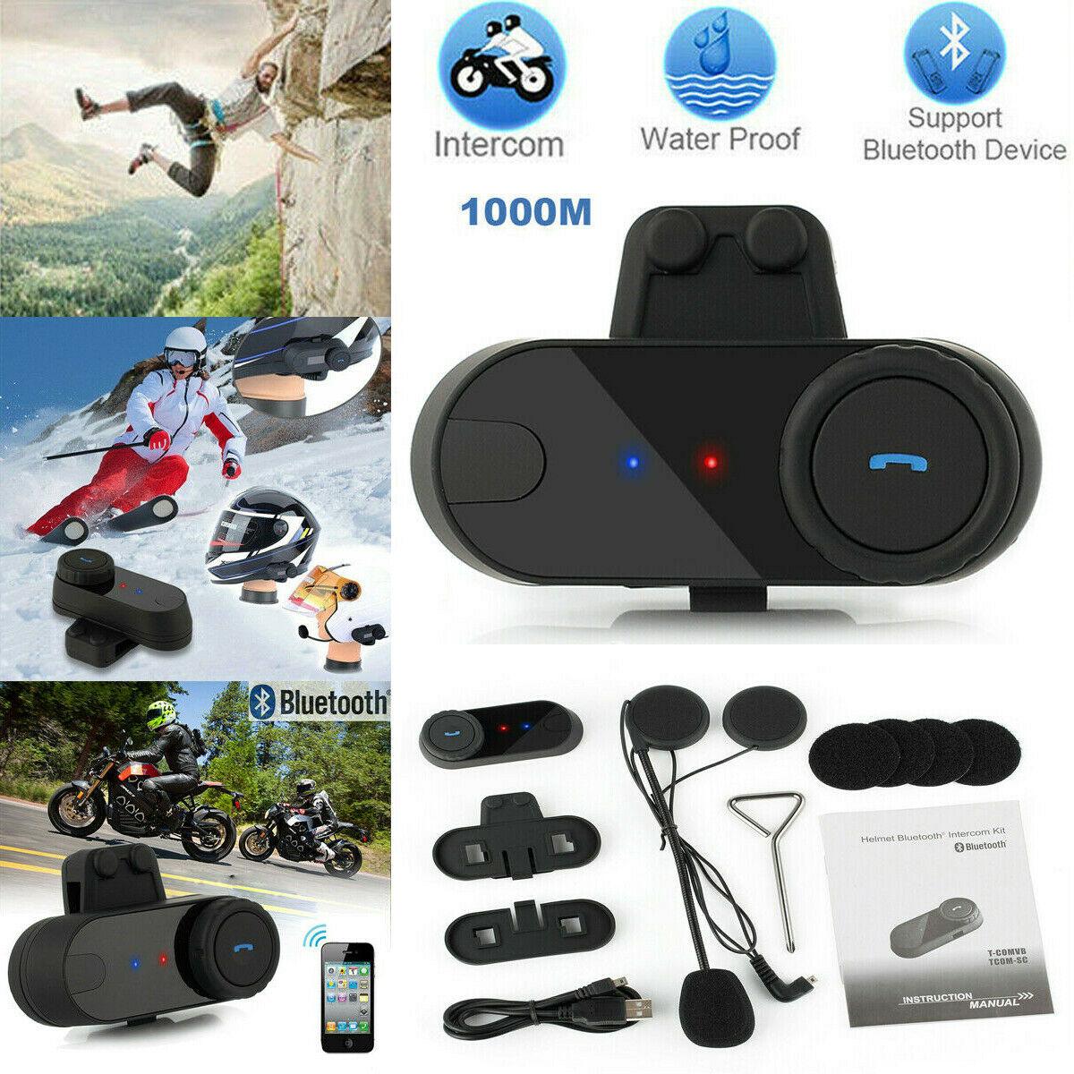 Waterproof 800M Bluetooth Interphone Headset Motorbike Motorcycle Rider Helmet Intercom FM