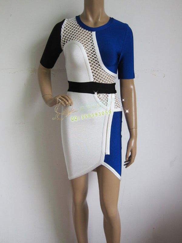 Новый dressblue, Черный и белый цвета сетки модные пикантные Тонкий  Коктейль бинты платье 9947d110397