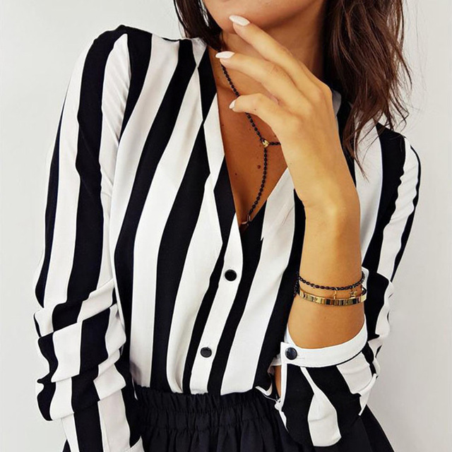 2019 New Blouse Women Casual Striped Top Shirts Blouses Female Loose Blusas Autumn Fall Casual Ladies Office Blouses Top Sexy 5
