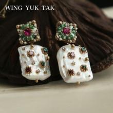 Wing yuk tak Роскошные геометрические красочные Кристальные серьги-гвоздики для женщин богемные сережки с культивированным жемчугом Femme модные ювелирные изделия