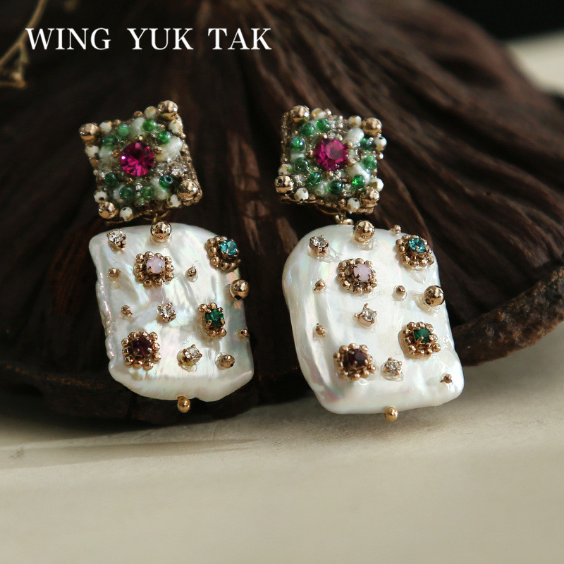 все цены на wing yuk tak Luxury Geometric Colorful Crystal Stud Earrings For Women Bohemia Cultured Pearl Earrings Femme Fashion Jewelry