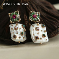 wing yuk tak Luxury Geometric Colorful Crystal Stud Earrings For Women Bohemia Cultured Pearl Earrings Femme Fashion Jewelry