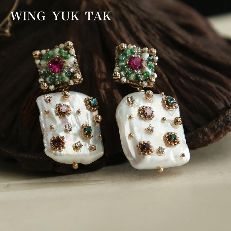 wing yuk tak Luxury Geometric Colorful Crystal Stud Earrings For Women Bohemia Cultured Pearl Earrings Femme Fashion Jewelry