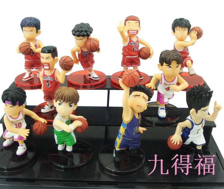 10pcs/set 8cm Slam Dunk Sakuragi Hanamichi Action Figures PVC brinquedos Collection Figures toys for christmas gift huong anime slam dunk 24cm number 11 rukawa kaede pvc action figure collectible toy model brinquedos christmas gift