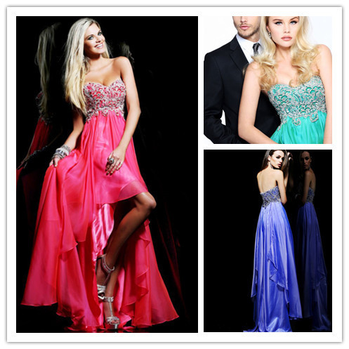 New Design Sweetheart Beading Short Front Long Back Prom Dress Low ...