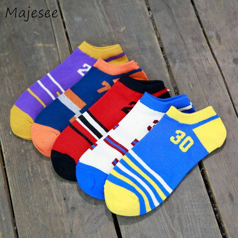 Number Cotton Men Knitted Funny Socks Mens Sock Summer Breathable Deodorant High Elasticity Designed Male Comfortable Students