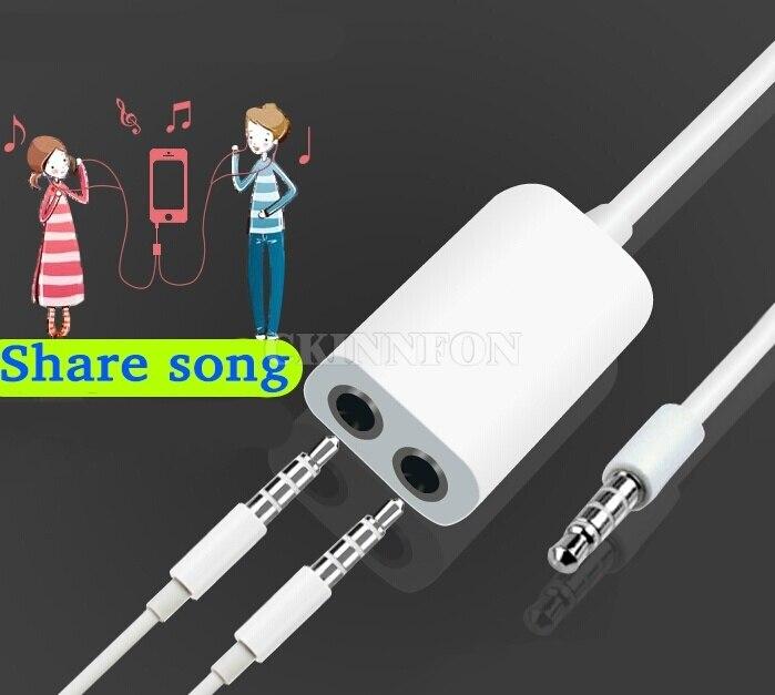 DHL 500PCS Black/White Universal 3.5mm 1 Male to 2 Female Audio Headphone Splitter Cable