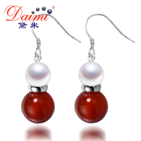DAIMI New Arrival Freshwater Pear Earrings Luxury Ear Cuff Earrings For Women Strass Earrings Jewelry