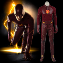 The Flash Cosplay Costume With Boots Season 1 Superhero Barry Allen Suit Adult Men Halloween Costume Exotic Apparel Custom Made